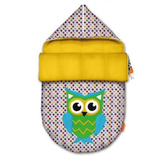 Зимний конверт на выписку и прогулку, конверт для новорожденного COCOON OWL YELLOW