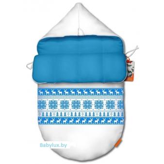 Зимний конверт на выписку и прогулку, конверт для новорожденного COCOON WINTER LIGHT BLUE